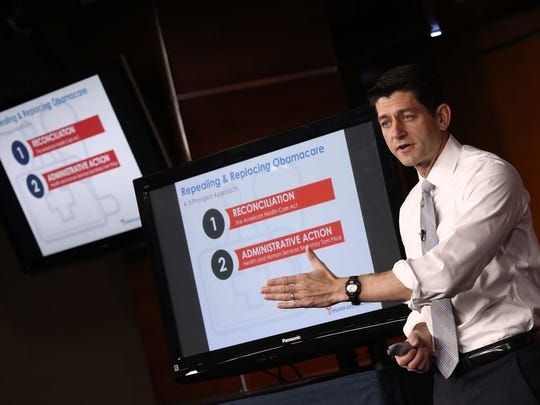 WASHINGTON, DC - MARCH 09:  U.S. Speaker of the House Paul Ryan (R-WI) explains the Republican plan to replace the Affordable Care Act during his weekly press conference at the U.S. Capitol March 9, 2017 in Washington, DC. During his remarks, Ryan said ÒWe made a promise to repeal and replace Obamacare. Now itÕs time to do it.Ó  (Photo by Win McNamee/Getty Images)