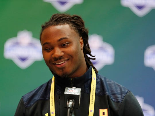 Texas Longhorns running back D'onta Foreman speaks to the media during the 2017 NFL Combine at the Indiana Convention Center.