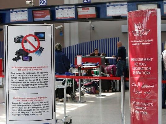 AP MOROCCO AIRLINES ELECTRONICS BAN I MAR
