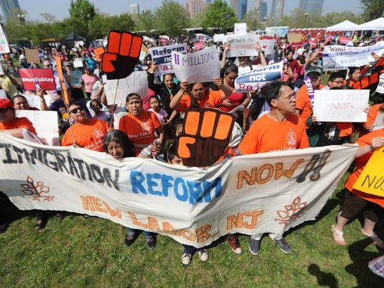 Hundreds gathered for a May Day rally at Liberty State Park in Jersey City on May 1.