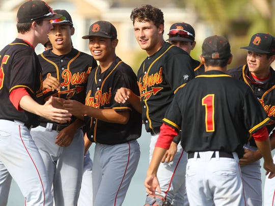 Palm Desert High School, in black top uniform during their quarterfinal game against Edison High School (Huntington Beach). Palm Desert won 3-2 and advances to the semifinals.
