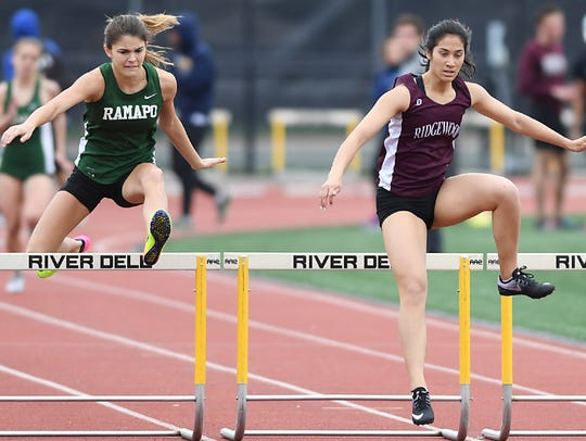 Ridgewood's Katherine Muccio (right) won the 400 intermediate