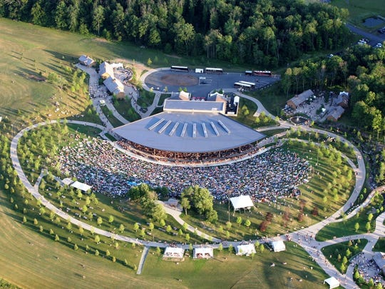 An aerial view of the Pavilion Stage at the Bethel Woods Center for the Arts at the site of the original 1969 Woodstock Music & Art Fair.