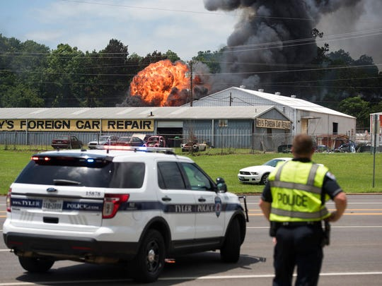 City of Tyler police respond as a fire engulfs Tyler