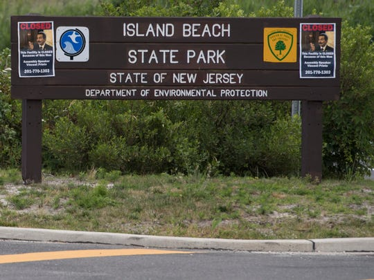 The entrance to Island Beach State Park was closed