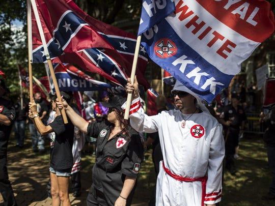 The Ku Klux Klan protests on July 8, 2017 in Charlottesville, Va.