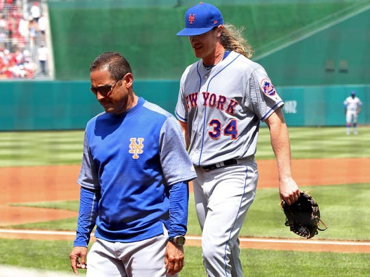 Noah Syndergaard departs the field April 30.