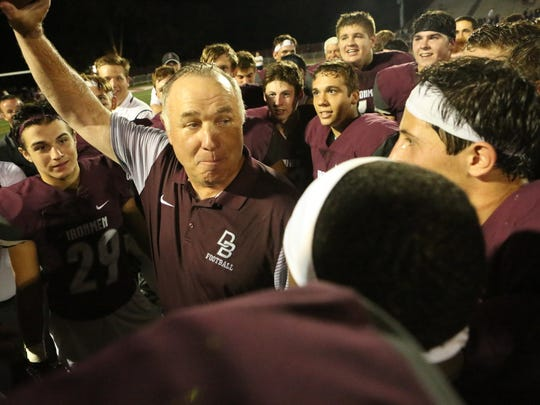 Former Don Bosco head football coach Greg Toal celebrates his 300th win last fall with the Ironmen. Toal accepted a job as an assistant coach at Bergen Catholic.