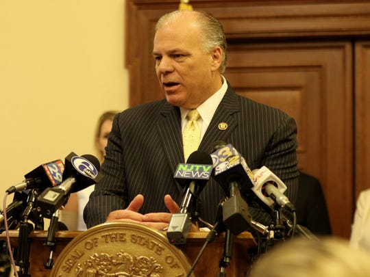 State Senate President Stephen Sweeney, D-Gloucester, speaking to reporters during the government shutdown on July 3.