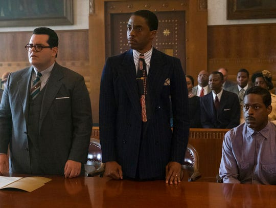"""From left, Josh Gad, Chadwick Boseman and Sterling K. Brown in """"Marshall,"""" playing at Regal West Manchester Stadium 13 and R/C Hanover Movies."""