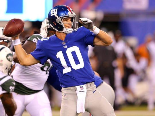 Giants quarterback Eli Manning gets a national audience