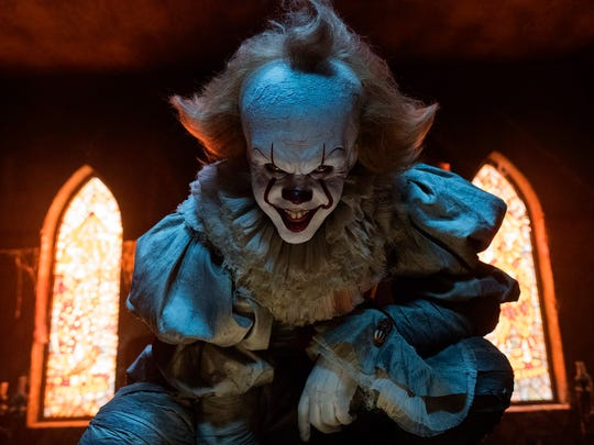 "Bill Skarsgard in a scene from ""It.""  The movie is"