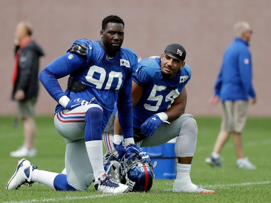 In this Aug. 8, 2017, file photo, New York Giants defensive