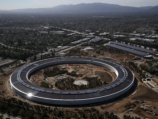 An aerial view of the new Apple headquarters in Cupertino,