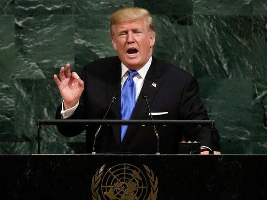President Donald Trump speaks at the United Nations on Tuesday.