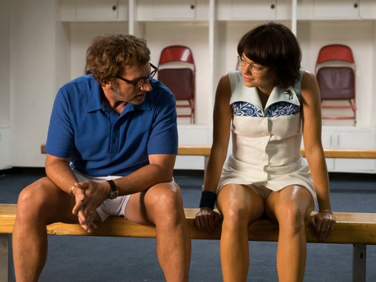 Steve Carell and Emma Stone as Bobby Riggs and Billie Jean King in 'Battle of the Sexes,' which re-creates their famous 1973 tennis match at the Houston Astrodome.