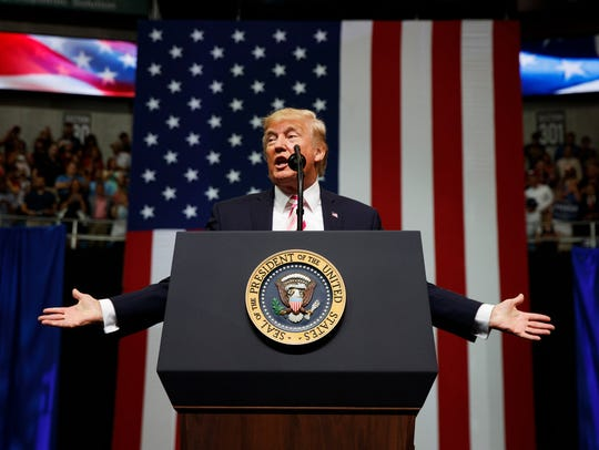 President Donald Trump speaks at a campaign rally Friday