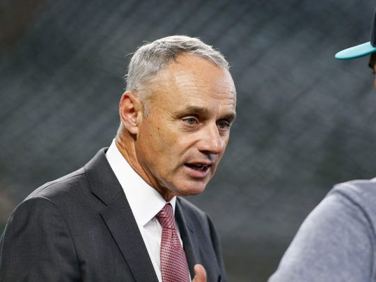 MLB commissioner Rob Manfred spoke to reporters about a range of topics prior to Tuesday night's AL Wild Card game at Yankee Stadium.