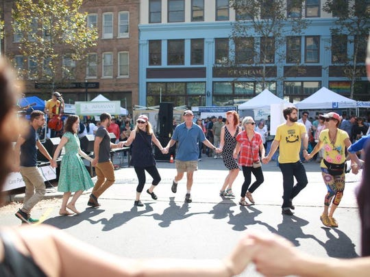 Scenes from the HardLox Jewish food and culture Festival on Sunday afternoon at Pack Square Park.  The festival featured music, dance, food, vendors, and more.