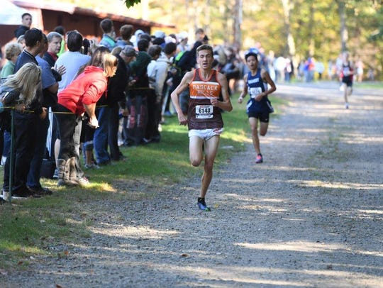 Dillon Jensen of Pascack Hills winning Boys C race