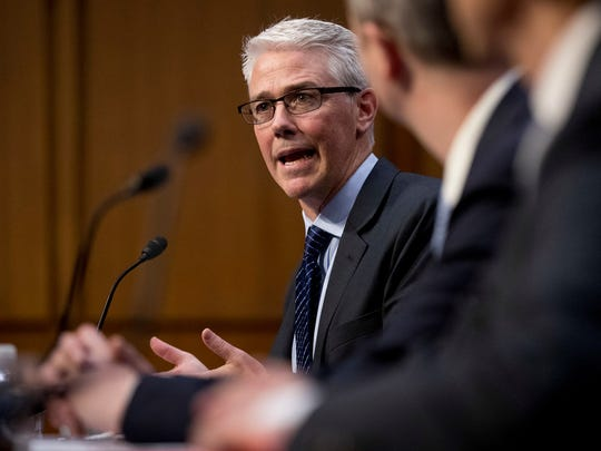 Facebook's General Counsel Colin Stretch speaks before
