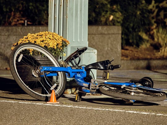 A bicycle at the crime scene where a motorist earlier