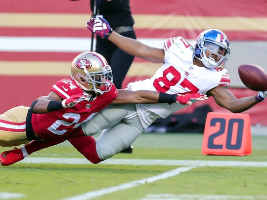 New York Giants wide receiver Sterling Shepard (87) makes a diving catch against San Francisco 49ers defensive back K'Waun Williams (24) during the third quarter at Levi's Stadium. Williams, a St. Joseph Regional grad and Paterson native, came out on top as the 49ers beat the Giants, 31-21, for their first win.