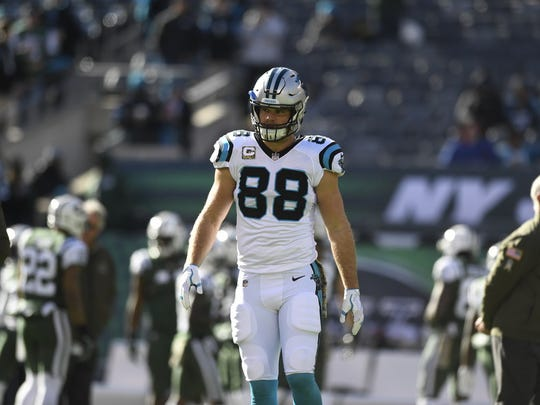 Panthers TE and Wayne native Greg Olsen on the field during warmups before Carolina played the Jets on Sunday at MetLife Stadium. It was the first time Olsen played since breaking his right foot in Week 2.