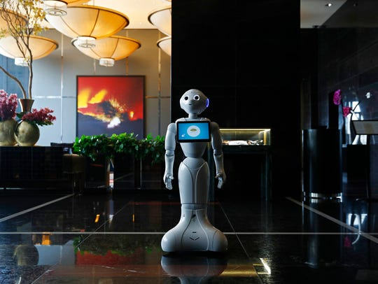 In this Nov. 15, 2017, photo, a robot named Pepper