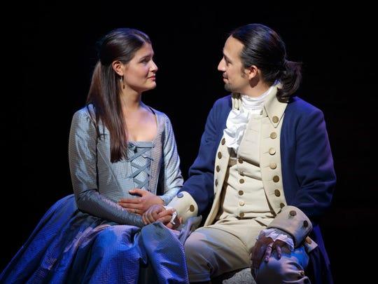 Phillipa Soo. Lin-Manuel Miranda in the original Broadway cast of Hamilton