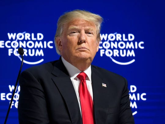 US President Donald Trump looks on during a discussion after delivering his speech during the World Economic Forum (WEF) annual meeting on January 26, 2018 in Davos, eastern Switzerland.