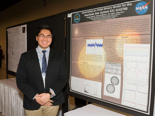 "Joseph Manuel, son of Orlando Manuel and Lolita Manuel of Liguan Terrace Dededo, recently presented his paper,  ""Generating an Initial Binary Model for the Heartbeat Star System KIC 4142768"" at the  American Astronomical Society Conference in Washington DC on Jan. 12, 2018.  Joseph determined fundamental parameters of a previously unsubscribed binary star system using raw data from the Kepler space telescope and the Keck Observatory and parsed that data through the PHOEBE modelling software. Joseph is in his third year at astrophysics program at Villanova University in Pennsylvania.  He previously worked as an intern in the Office of Senator Frank Aguon, Jr."