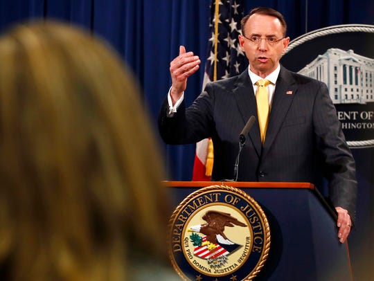 Deputy Attorney General Rod Rosenstein answers a question