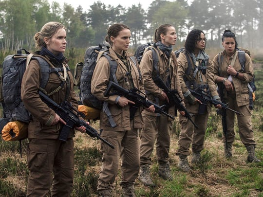 """From left, Jennifer Jason Leigh, Natalie Portman, Tuva Novotny, Tessa Thompson and Gina Rodriguez in a scene from """"Annihilation."""" The movie is playing at Regal West Manchester Stadium 13 and R/C Hanover Movies."""