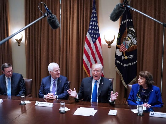 President Trump speaks during a meeting with bipartisan