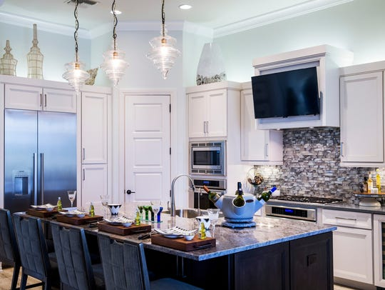 The kitchen of the Aviano, a three-bedroom, fully furnished