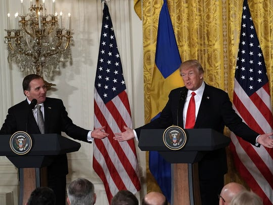 President Donald Trump and Swedish Prime Minister Stefan Lofven participate in a joint news conference in the East Room of the White House March 6, 2018, in Washington, D.C.