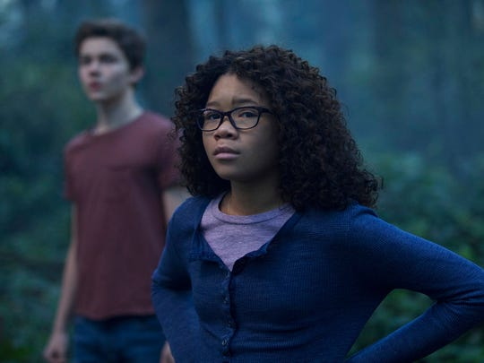 "Storm Reid, right, and Levi Miller star in ""A Wrinkle In Time."" The movie is playing at Regal West Manchester Stadium 13, Frank Theatres Queensgate Stadium 13 and R/C Hanover Movies."