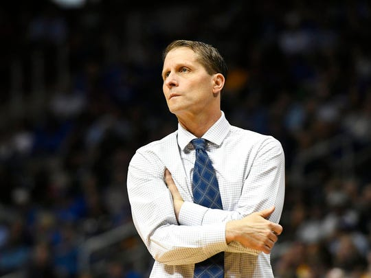 Nevada head coach Eric Musselman watches play against Loyola-Chicago during the second half of a regional semifinal NCAA college basketball game, Thursday, March 22, 2018, in Atlanta.