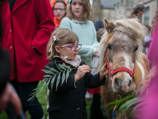 Harper Jones; age 4, pets one of the donkeys as Central