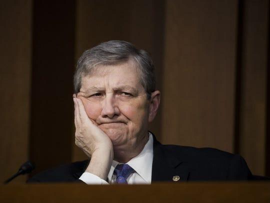 Sen. John Kennedy, R-La., listens to testimony during