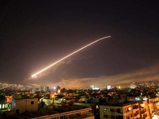 Damascus sky lights up with surface to air missile