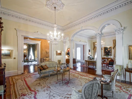 The formal living areas are steeped in historic detail.