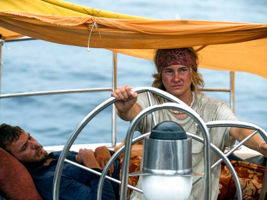 "Shailene Woodley, right, and Sam Claflin star in ""Adrift."""