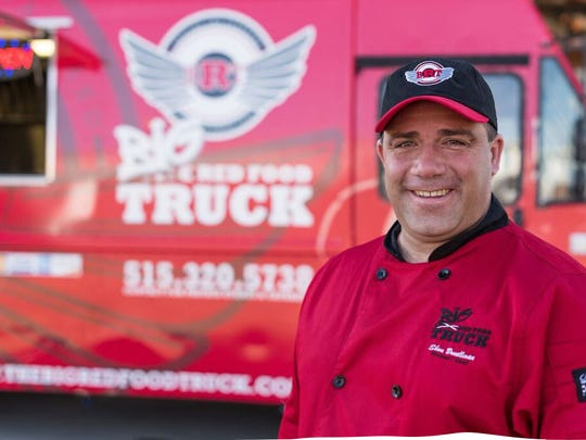 Shon Bruellman owns The Big Red Food Truck in Des Moines.