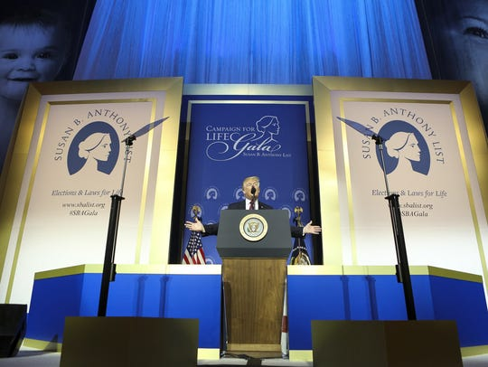 President Donald Trump speaks at a gala for the Susan