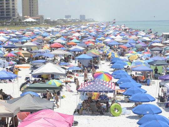 Thousands of people crowd Pensacola Beach for the Blue