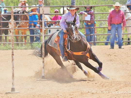 The cowgirls get in on the action and show off their pole-bending skills during the Corona Days Kids Rodeo, set fthis year for Friday, July 27. A ranch rodeo will be part of the Corona Days celebration on July 28.