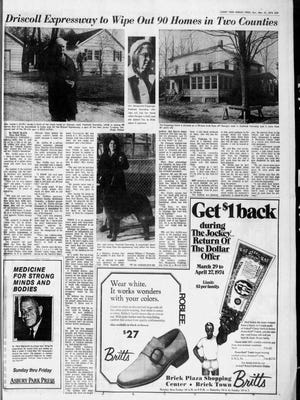 Asbury Park Press coverage of the impact of eminent domain use for the planned Alfred E. Driscoll Expressway in the APP editions of March 31, 1974.