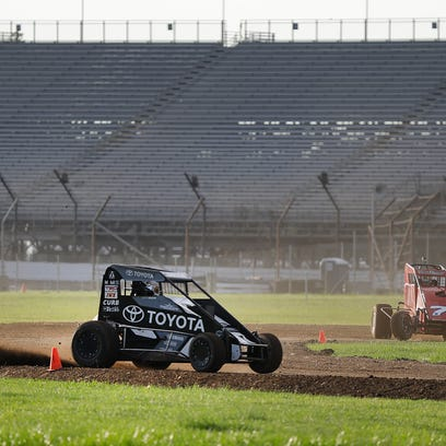 Midget cars drivers take their turn on the 3/16th oval
